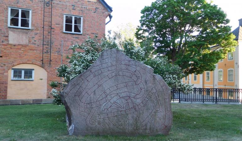 Rune stone next to the Cathedral